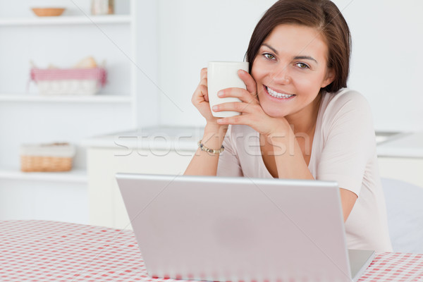 Beautiful dark-haired woman using her laptop and having a tea in her kitchen Stock photo © wavebreak_media