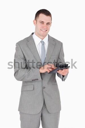 Portrait souriant affaires travail simulateur blanche Photo stock © wavebreak_media