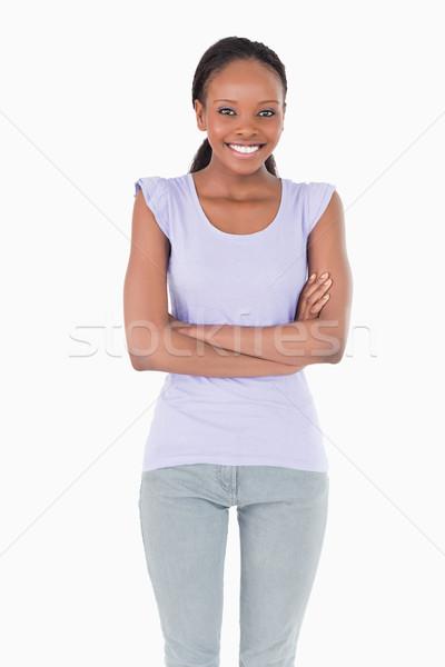 Gülümseyen kadın silah katlanmış beyaz mutlu Stok fotoğraf © wavebreak_media
