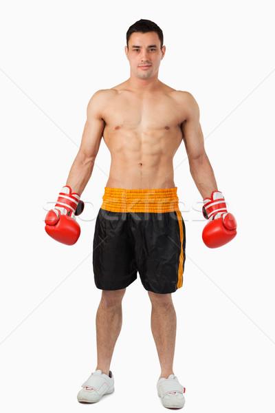 Jovem boxeador pronto lutar branco esportes Foto stock © wavebreak_media