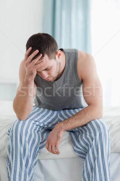 Portré szomorú férfi ül ágy ház Stock fotó © wavebreak_media