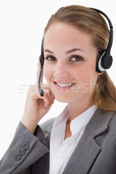 Zdjęcia stock: Widok · z · boku · uśmiechnięty · kobiet · call · center · agent · biały