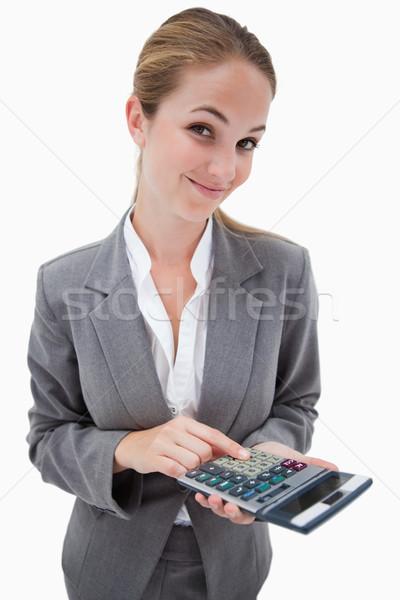 Banco empleado bolsillo calculadora blanco equilibrio Foto stock © wavebreak_media