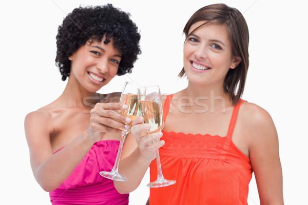 Młodych kobiet okulary szampana celu świętować przypadku Zdjęcia stock © wavebreak_media