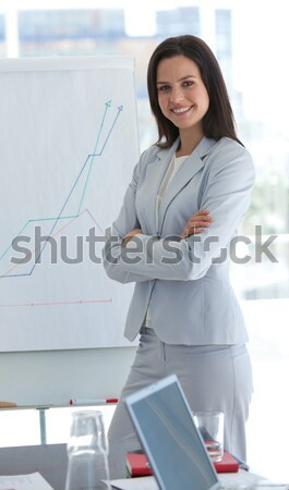 Pretty employee hands on hips against white background Stock photo © wavebreak_media