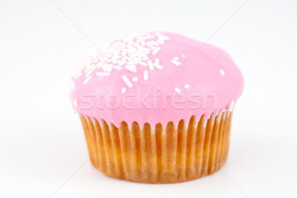 Muffin glazuursuiker witte achtergrond cake eten Stockfoto © wavebreak_media