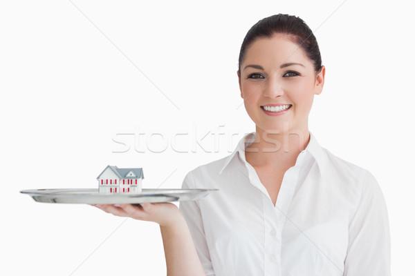 Kelnerka srebrny taca miniatura domu Zdjęcia stock © wavebreak_media