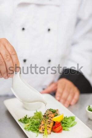 şef yemek erkek taze beyaz işçi Stok fotoğraf © wavebreak_media