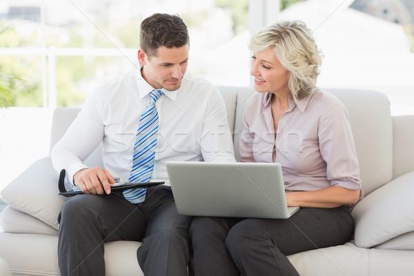 Smart Geschäftsmann Sekretär Tagebuch Laptop Sofa Stock foto © wavebreak_media