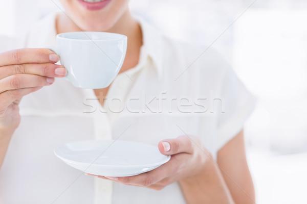 Középső rész üzletasszony teáscsésze közelkép fiatal fényes Stock fotó © wavebreak_media
