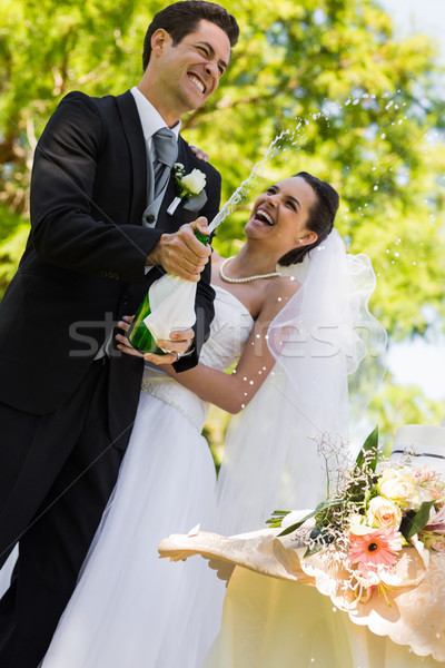 Recém-casado casal noivo abertura champanhe garrafa Foto stock © wavebreak_media