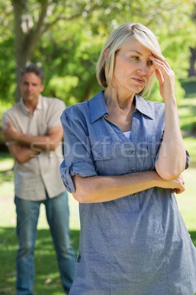 расстраивать пару парка женщину человека женщины Сток-фото © wavebreak_media