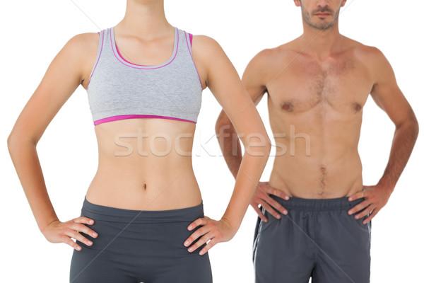 Középső rész fitt fiatal pér áll fehér férfi Stock fotó © wavebreak_media