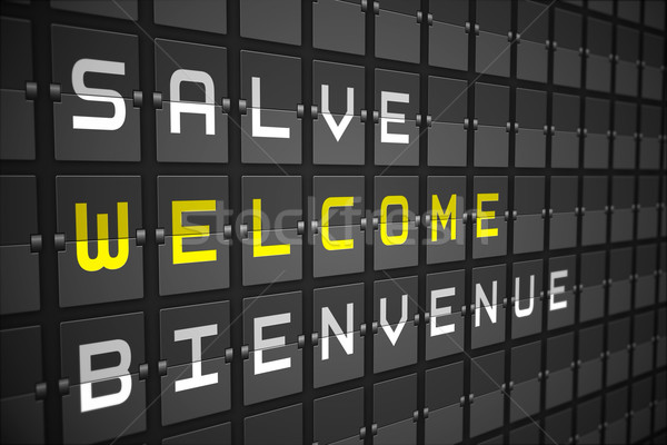 Welcome in languages on black mechanical board Stock photo © wavebreak_media