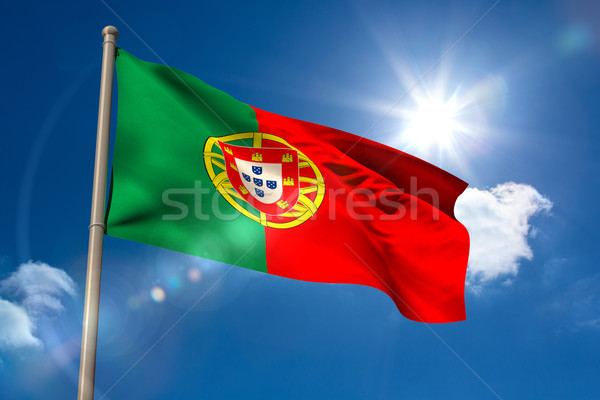 Portugal national flag on flagpole  Stock photo © wavebreak_media