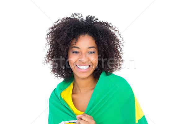 Dość dziewczyna żółty tshirt banderą Zdjęcia stock © wavebreak_media