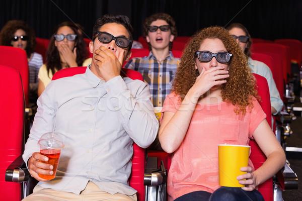 молодые друзей смотрят 3D фильма кино Сток-фото © wavebreak_media