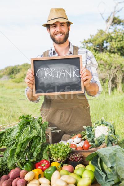 Gazda elad organikus termény napos idő férfi Stock fotó © wavebreak_media
