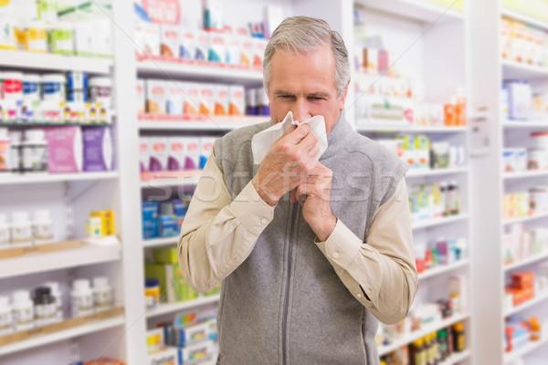 Beteg vásárló papírzsebkendő gyógyszertár boldog orvosi Stock fotó © wavebreak_media