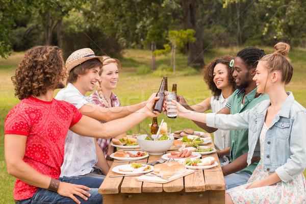 Boldog barátok park ebéd napos idő nő Stock fotó © wavebreak_media