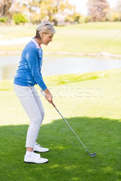 Stok fotoğraf: Kadın · golfçü · atış · golf · sahası