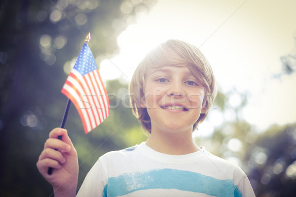 Peu garçon drapeau américain printemps Photo stock © wavebreak_media