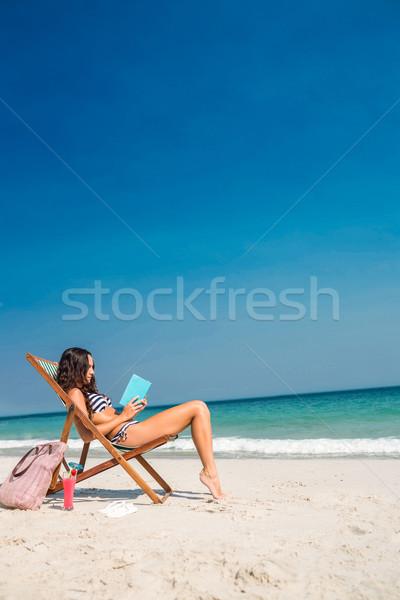 Bella bruna lettura libro deck sedia Foto d'archivio © wavebreak_media