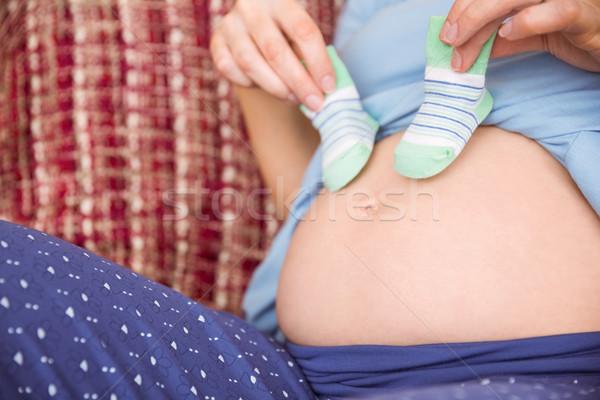 Zwangere vrouw buil home woonkamer Stockfoto © wavebreak_media