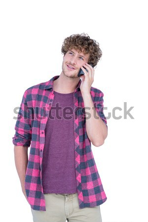 Boldog jóképű férfi telefonbeszélgetés fehér arc divat Stock fotó © wavebreak_media