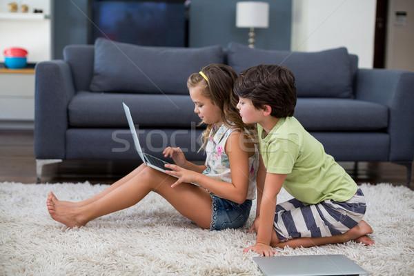 Siblings using laptop in living room Stock photo © wavebreak_media