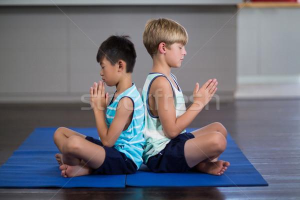 Irmãos ioga casa vista lateral criança Foto stock © wavebreak_media