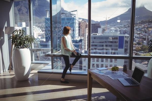Figyelmes igazgató néz ablak iroda számítógép Stock fotó © wavebreak_media