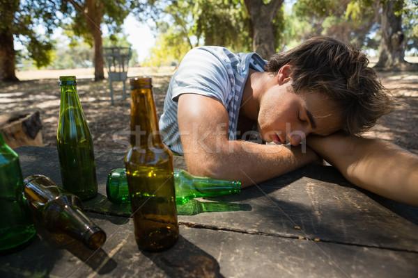 Homem adormecido tabela parque solitário Foto stock © wavebreak_media