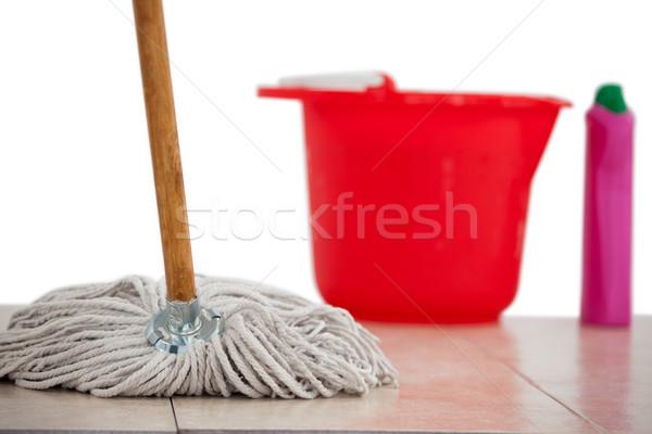 Mop cleaning the tile floor Stock photo © wavebreak_media