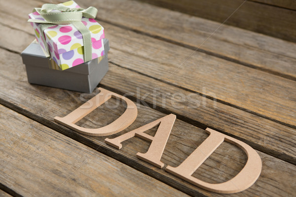High angle view of gift boxes by dad text on table Stock photo © wavebreak_media