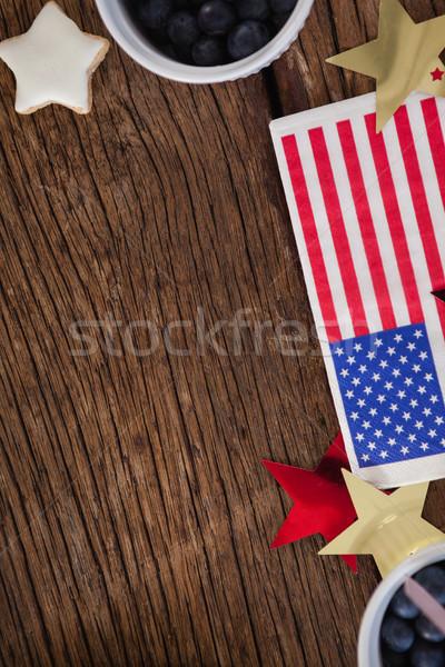 Amerikaanse vlag star vorm decoratie houten tafel Stockfoto © wavebreak_media