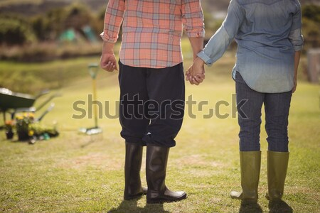 Parents and boy holding hands while walking on footpath at park Stock photo © wavebreak_media