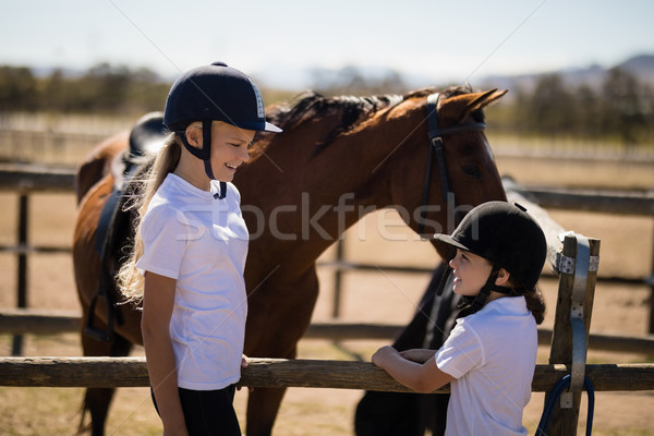 Smiling girls looking face to face near the brown horse in the ranch Stock photo © wavebreak_media