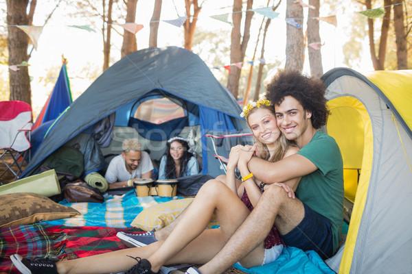 Stock fotó: Portré · mosolyog · pár · sátor · táborhely · nő