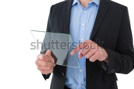 Középső rész üzletember tart darab papír áll Stock fotó © wavebreak_media