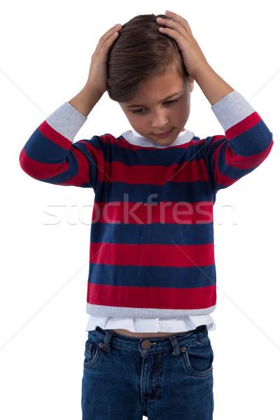 Bonitinho menino dor de cabeça criança falante Foto stock © wavebreak_media