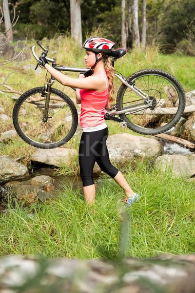 Blond atleet mountainbike natuur vrouw Stockfoto © wavebreak_media