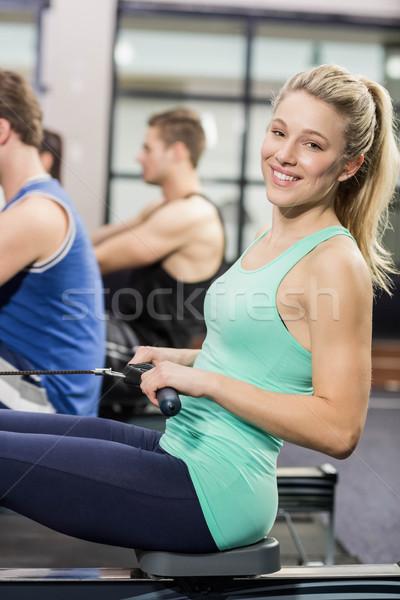 Encajar personas dibujo máquina gimnasio feliz Foto stock © wavebreak_media