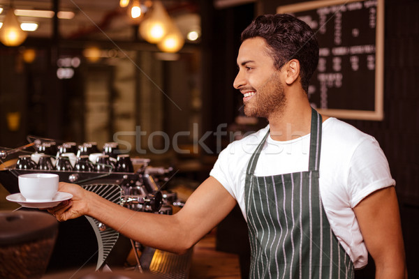 Mosolyog barista eszpresszó pult bár kávé Stock fotó © wavebreak_media