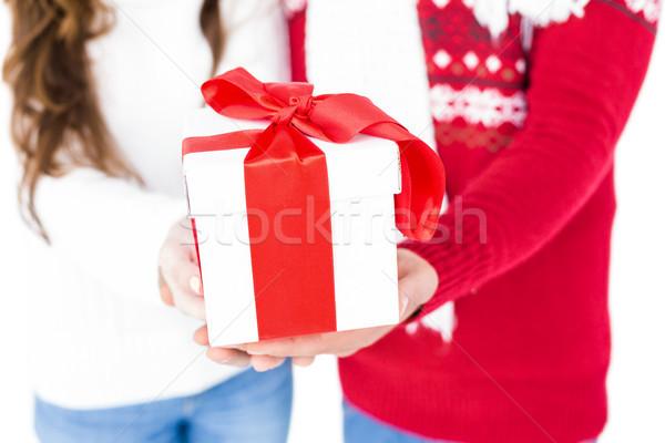 ünnepi pár tart karácsony ajándék fehér Stock fotó © wavebreak_media