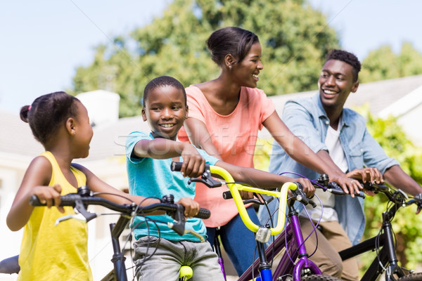 Mutlu aile bisiklet park kadın aile kız Stok fotoğraf © wavebreak_media