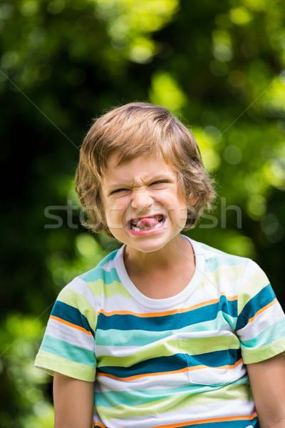 Piccolo ragazzo faccia buffa natura pattern Foto d'archivio © wavebreak_media