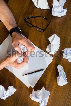Retrato manos dibujo hoja papel oficina Foto stock © wavebreak_media