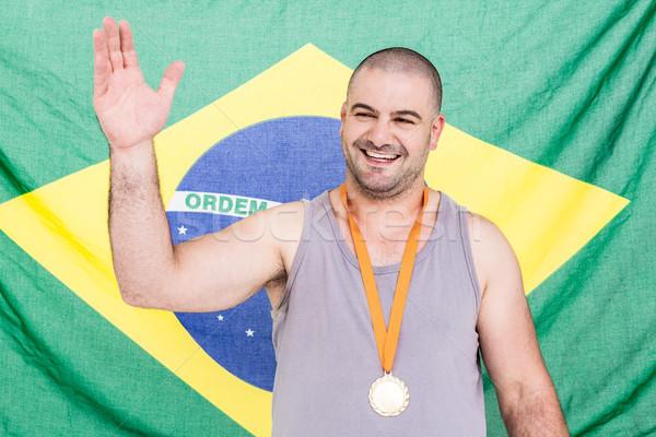 спортсмена человека металл флаг игры Сток-фото © wavebreak_media