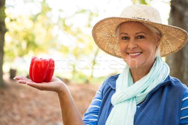 Portré boldog kertész piros harang paprikák Stock fotó © wavebreak_media